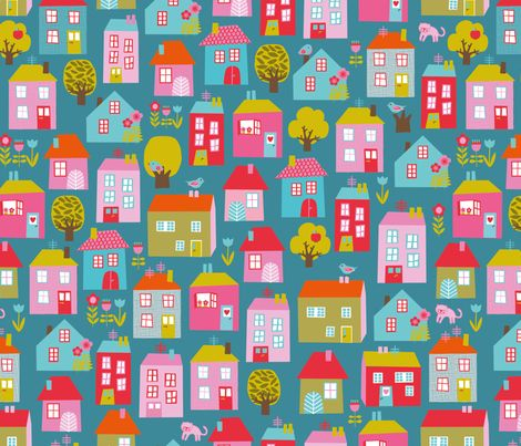 Mariposa Village petrol fabric by simply_colours on Spoonflower - custom fabric