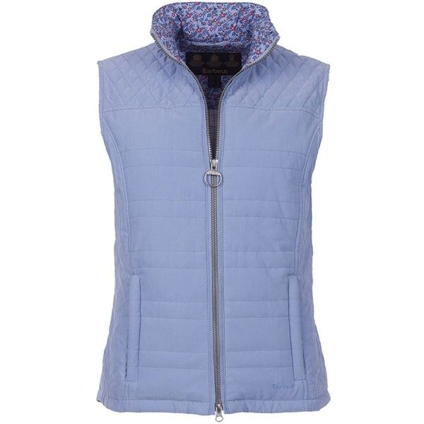 Women's Barbour Badminton Gilet - Pale Blue (£80) ❤ liked on Polyvore featuring outerwear, vests, blue vest, barbour, barbour gilet and barbour vest