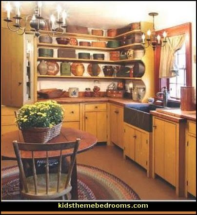 americana style primitive country farmhouse style decorating kitchen