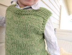 Another plain vest for girls or boys - can be knit as tunic - Pickles free knitting pattern for size 5/6