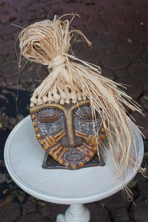 African Mask Ceramic/ Pottery Sculpture with Raffia decoration 7'' x 12'' on Etsy, $50.00