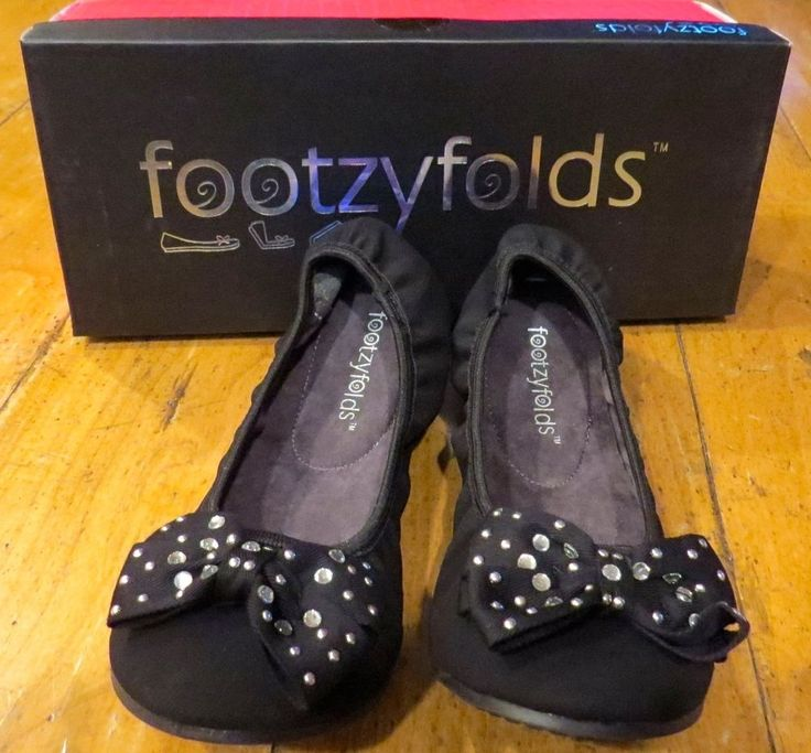 NEW Without Box Women's Footzyfolds Fiona Black Ballet Flats w/Rhinestone Bow, Size 7 with Dust Bag & Travel Footzypouch, ONLY $29.99 (RETAIL $55) & FREE Shipping