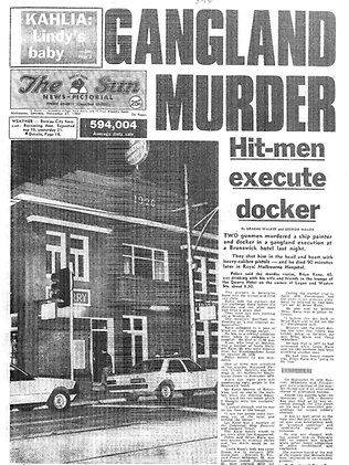 Front page of The Sun newspaper reporting Brian Kane's murder. Source: HWT Image Library
