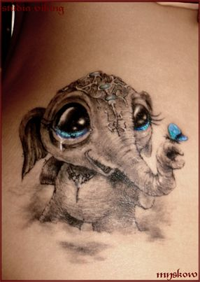 Love hint of color. baby Elephant Tattoo Would want the blue eyes,
