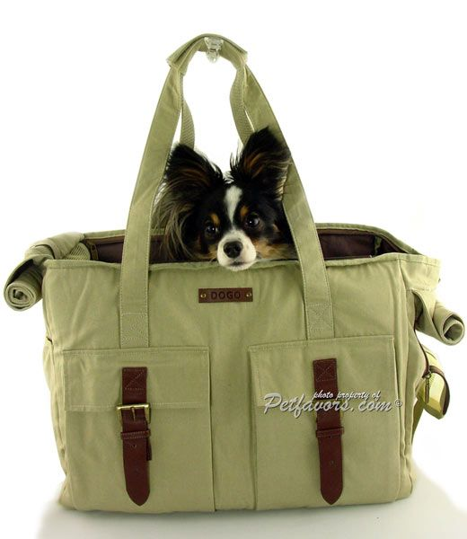 Khaki Buckle Tote Pet Carrier - Petfavors.com - The on-line store for pampered pets. Designer pet beds, pet carriers, outdoor cat enclosures, pet strollers