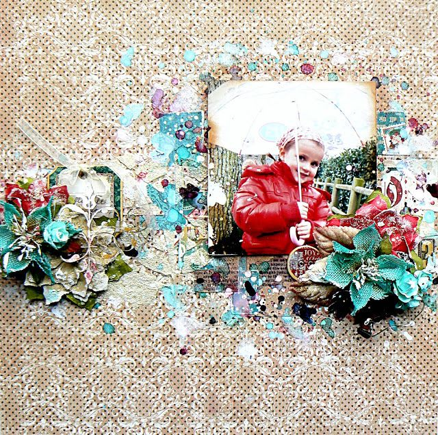 Scraps of Elegance scrapbook kits:  Stéphanie Papin created this beautiful mixed media layout  with our Dec. Silver Bells kit. Find our kits at www.scrapsofdarkness.com