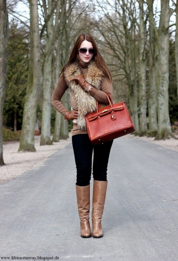 Fur vest for stylish winter look 20 outfit ideas outfit for Oficinas chicas