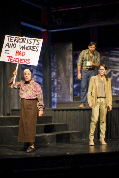 Connie Guccione as Merle Kaplan, Mike Vitorovich as Ali, Sarah Murphy-Dyson as Lizzie Kaplan in We The Family at Hart House Theatre, photo Scott Gorman