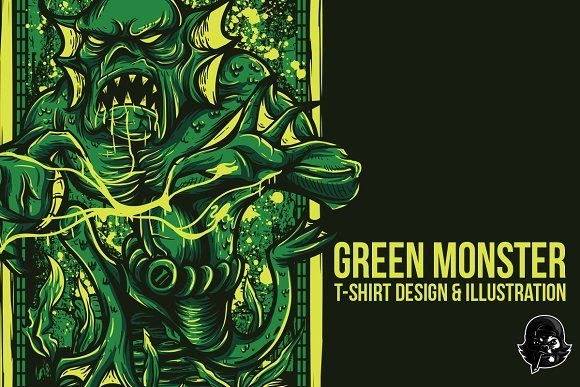 Green Monster Illustration by badsyxn on @creativemarket  Cool T-Shirt Design Ready to Use Grab it Fast.. . . . . . . . . #vector #editable #design #tshirt, #tees #cloth #clothingline #unique #awesome #cool #badass #nice #online #shop #brand #artwork #freelance #custom #apparel #product #bussiness #community #merch #event #club #comic #lover #fans #customdesign #green #monster