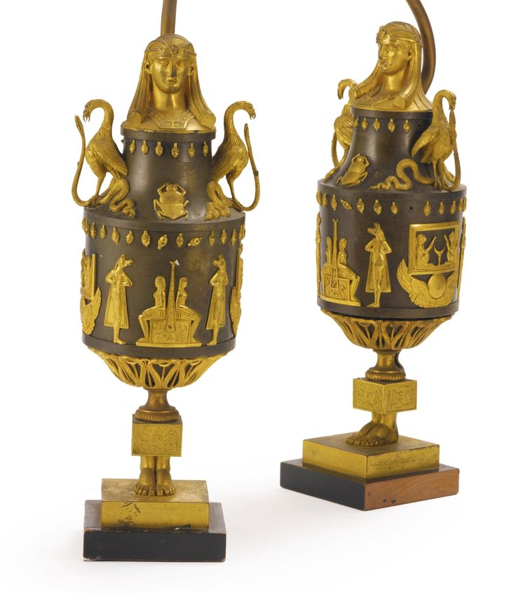 A pair of Directoire ormolu and patinated bronze canopic jars, now mounted as lamps, circa 1795.