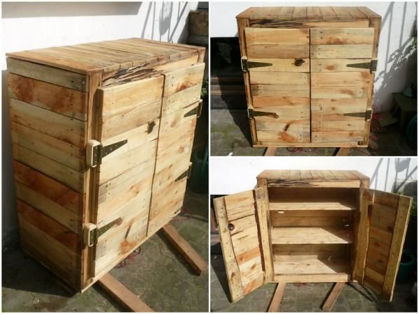 Homemade dresser made out ofrecycled wooden pallets.