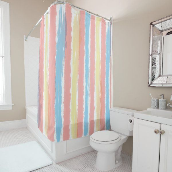 Pastel Blue Pink Yellow Vertical Stripes Shower Curtain Zazzle Com In 2020 Striped Shower Curtains Pretty Shower Curtains Custom Shower Curtains