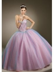 Tulle Sweetheart Embroidered Bodice Quince Dress
