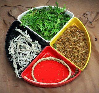 The Medicine Wheel - Four Sacred Medicines - 'Muskiiki' -  Chippewa