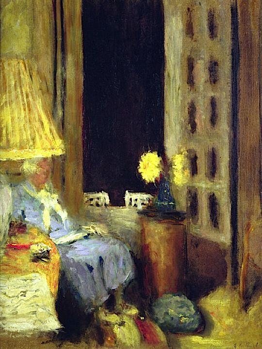 Edouard Vuillard, Woman Reading at Night. This style of artwork is not something I'd usually go for but it is quite intreging and looks very nice.