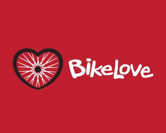 "Funky #logo for ""BikeLove"": bike wheel forms a heart - designed by David Holm"