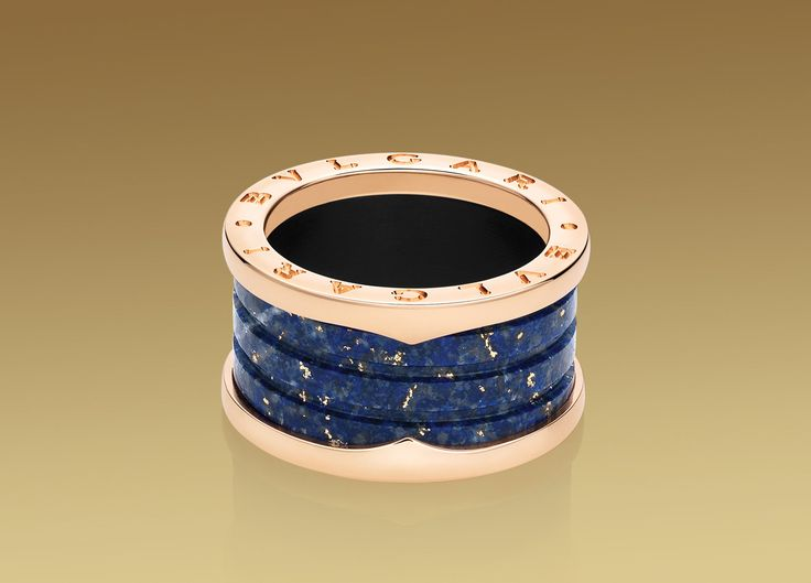 bvlgari pink gold and blue marble ring
