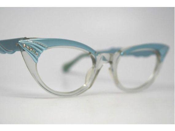 Vintage NOS Blue Rhinestone Cat Eye Glasses | Cat eye glasses ...