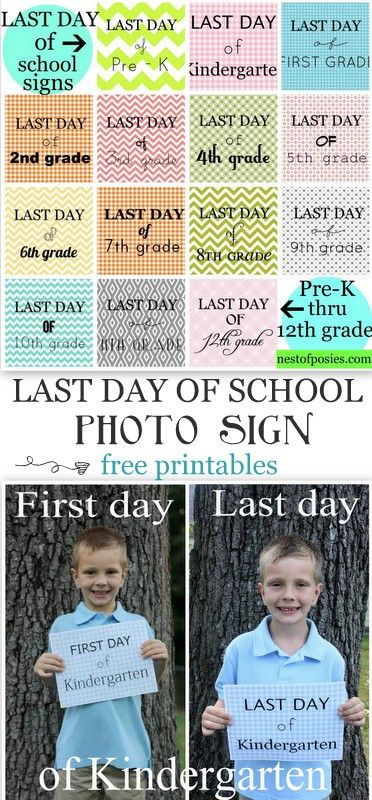 Last Day of School Photo Idea - free printable signs PreK-12th grade. Because time goes by too fast! via Nest of Posies