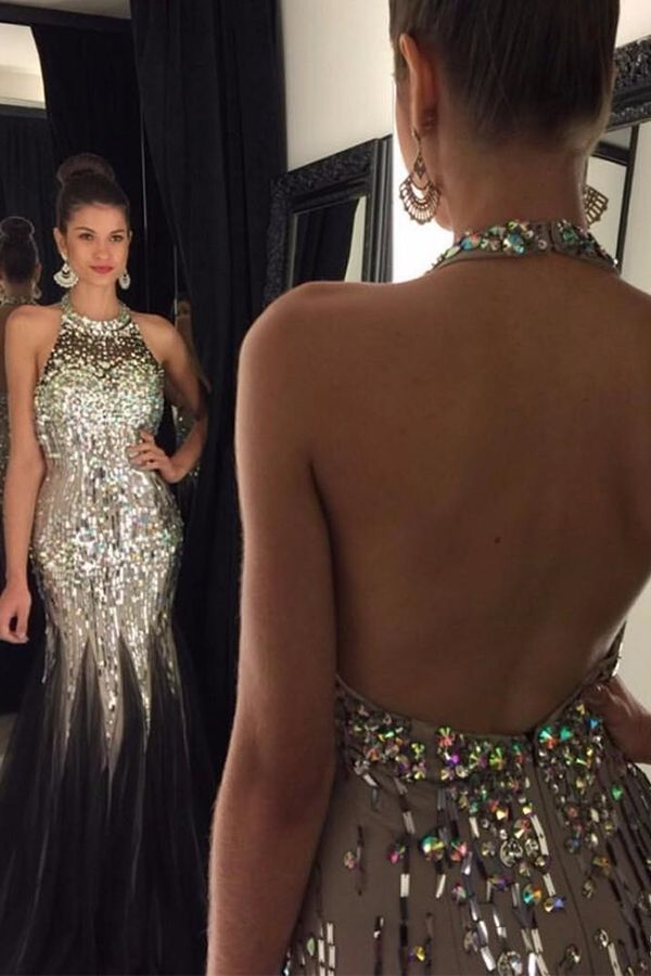 22f8bed936 Bling Black Prom Dresses Mermaid Crystals Beaded Halter Neck Open Back  Tulle Sweep Train Party Evening Gowns