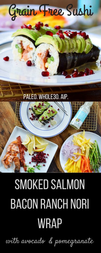 Paleo Sushi: Smoked Salmon Ranch Nori Wrap (Whole30!)