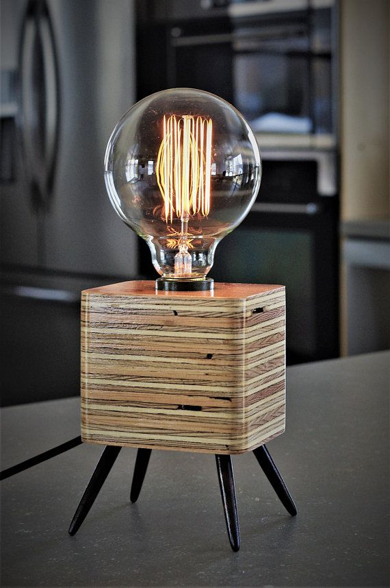 Table Lamp Desk Bedside Table Recycled Wood Retro Vintage