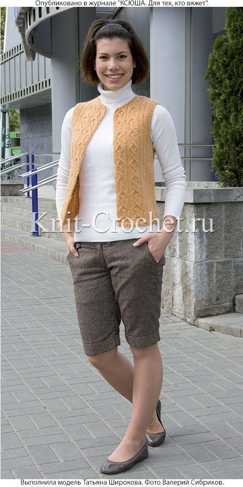 женский жилет размера 42 44 связанный на спицах вязание спицами