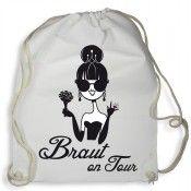 Weißer Junggesellinnenabschied-Rucksack mit Braut-Motiv
