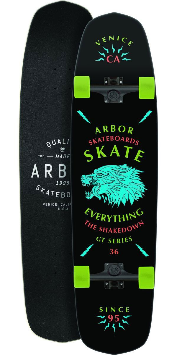 """Arbor Shakedown GT 36"""" Longboard Skateboard Complete - 2014 The Shakedown is one of the most versatile boards on the market. You can shred your way down some steep terrain with some soft wheels, or skate the park with some hard wheels. With this board you can skate the same board all day, and still be excited to wake up and do the same thing the next day. This board features kicktails to help you maneuver your way around pedestrians, poodles, and puddles"""