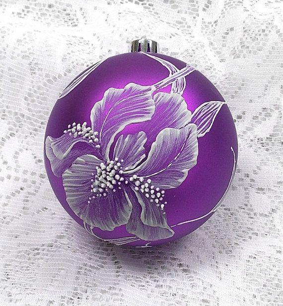 Rich Purple Hand Painted Black MUD Texture Iris Design (L) 277  SOLD!