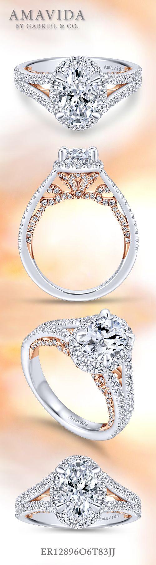 Susanna 18k White And Rose Gold Emerald Cut Halo Engagement Ring   Er12897e6t83jj