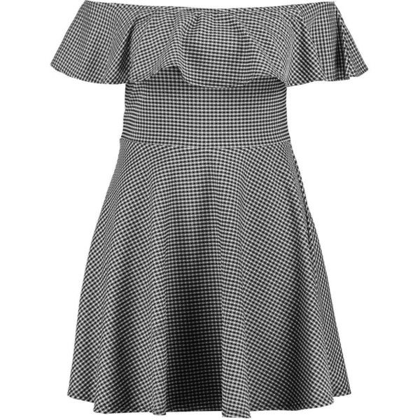 Boohoo Plus Keira Ruffle Gingham Skater Dress found on Polyvore featuring dresses, short dresses, short party dresses, color block maxi dresses, bodycon midi dress, short mini dress and bodycon dress