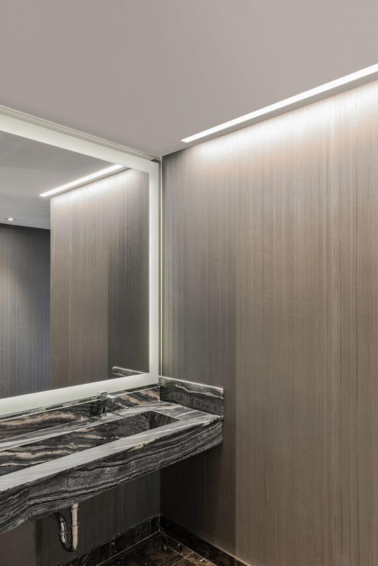 Bathroom lights bathroom wall lights artemis 900 rounded led strip - Truline 5a Adds A Crisp Clean Line Of Illumination To This Modern Bathroom Wall Lightingbathroom