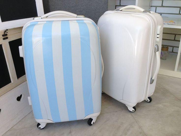 Βαλίτσα Trolley με μπλέ ρίγες και χωρίς
