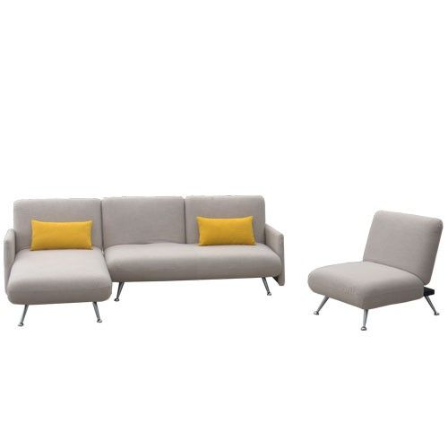 Vettori -  3 Seater Sofa Bed and Chair - Right Chaise Chaise - Natural