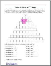 Patterns in Pascal's triangle (free download) as seen on Fourth Grade Friends    www.fourthgradefriends.com