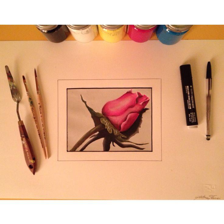 Elettra Tomei - tempera su foglio a sfumatura rosa