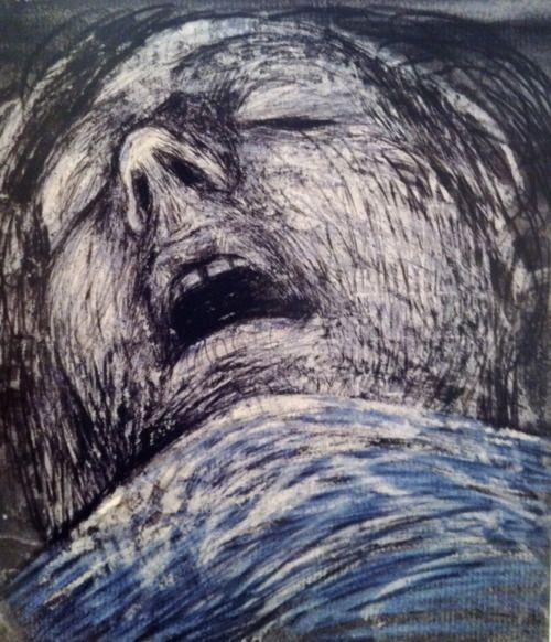 Sleeping Shelterer, Henry Moore, pencil, wax crayon, coloured crayon, watercolour wash, gouache