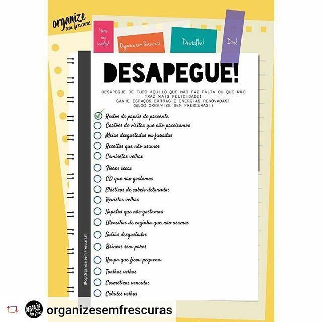 """Checklist para praticar o #desapego  #destralhar #desapegar #Rensta #Repost: @organizesemfrescuras via @renstapp ··· """" Bom dia! Vamos aproveitar o Outono para destalhar e desapegar das coisas que não usamos mais? Para ajudar, montei um infográfico com 40 coisas que mais acumulamos dentro de casa e que poderia ter outro destino (lixo, conserto ou doação). Imprima e dê OK nos itens pós-desapego ;) Confira o infográfico completo no blog 👌🏻 #infographic #infografico #organização…"""