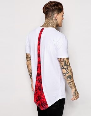 SikSilk Logo T-Shirt With Curved Hem and Rose Back Print