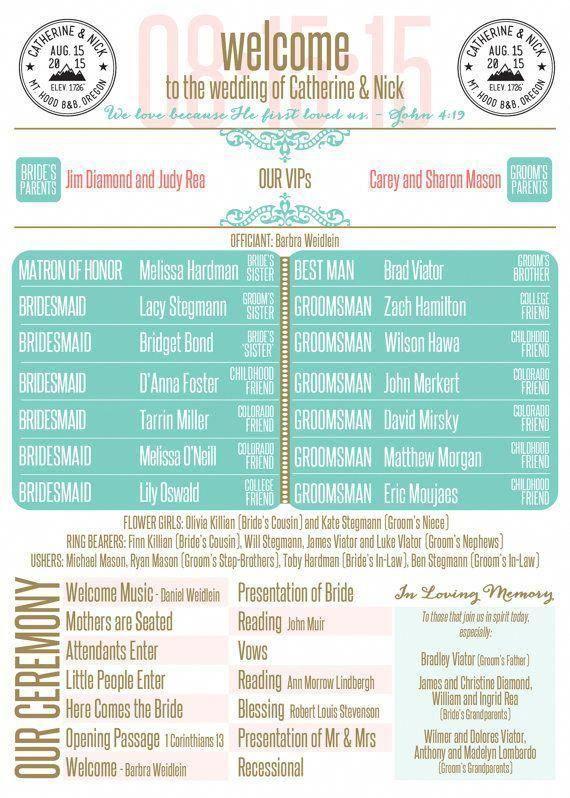 Custom Infographic Wedding Program Weddinginfographic Weddingplanninginfographic