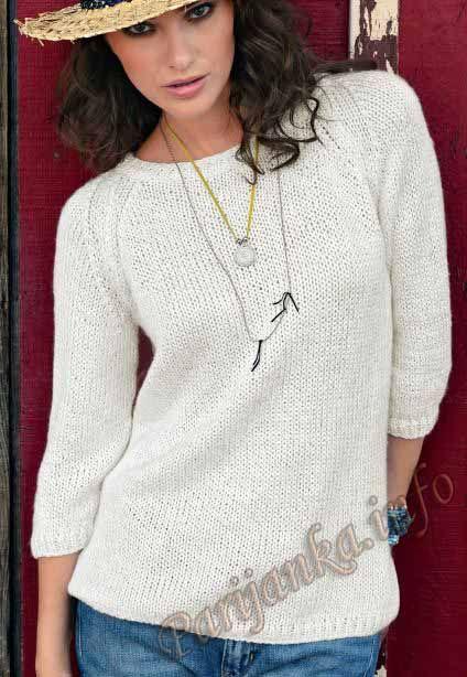 Классический белый пуловер с рукавом реглан. Обсуждение на LiveInternet - Российский Сервис Онлайн-Дневников