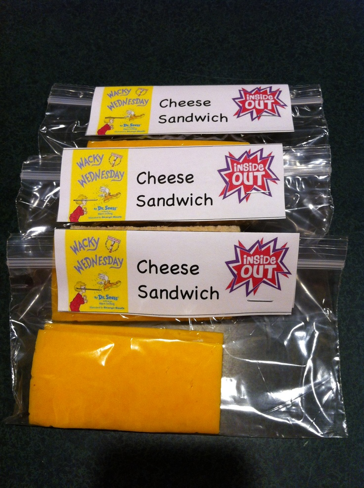 Dr. Seuss Wacky Wednesday snack. Inside out cheese sandwich. Bread in between 2 slices of cheese. How fun!!