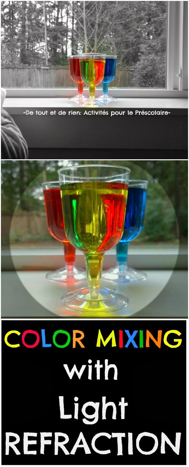 Love this color mixing with light refraction fun science experiment for kids! From De tout et de rien: Activités pour le Préscolaire