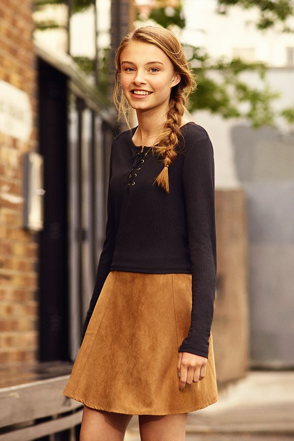 Looking ahead to AW15, a suede a-line skirt is a must-have. Wear it with lace-up tops or oversized jumpers. #newlook #fashion