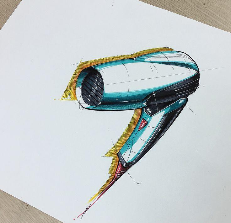 Hair dryer sketch & coloring on Behance
