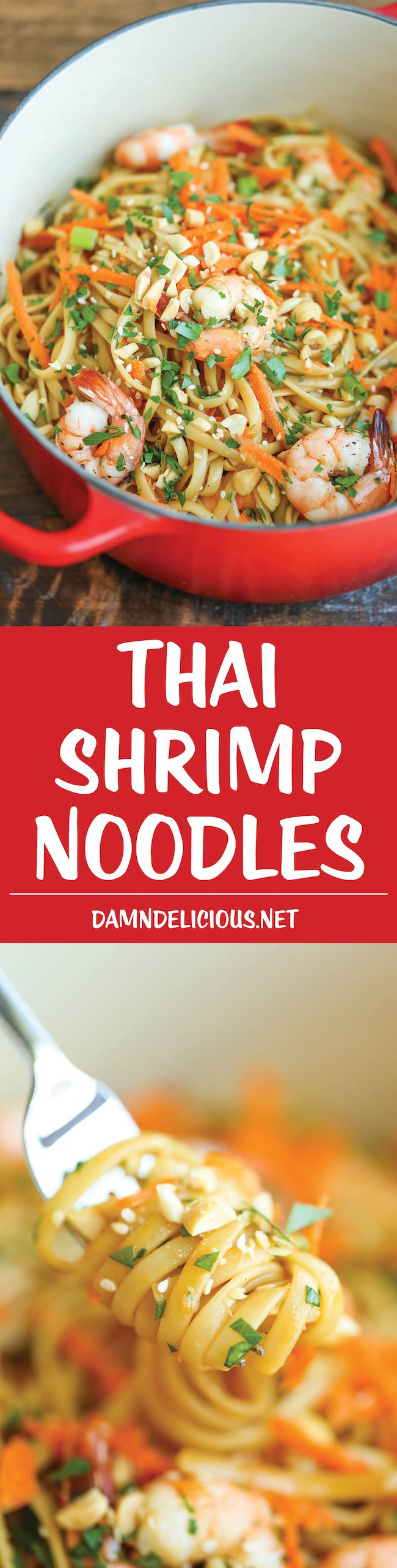 Thai Shrimp Noodles - An easy peasy 20 minute meal that can be easily adapted with more veggies - quicker than take-out and so much tastier (+healthier)!