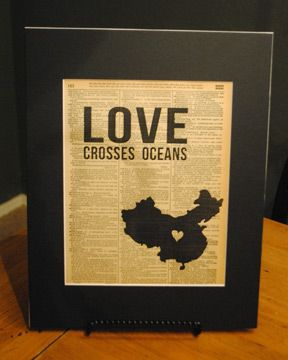 "Vintage Word art ""Love Crosses Oceans"" - China. Other countries available. Great for adoptive families, missions, etc. $15"