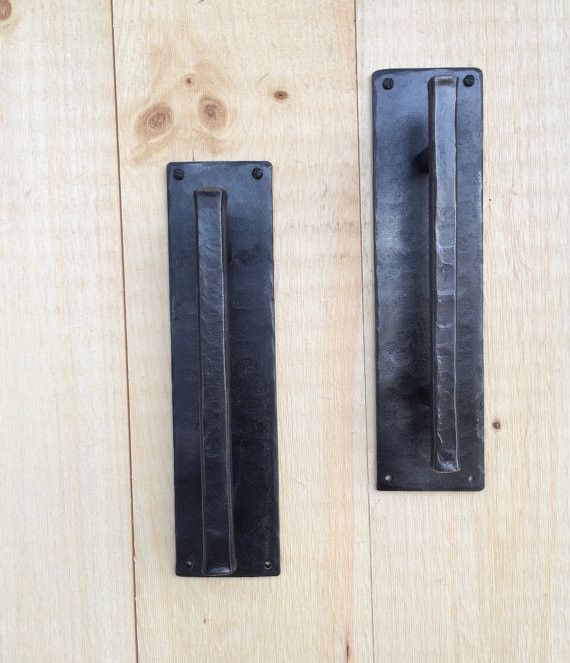"""Similar to our other barn door pulls, this pull has an extra wide back plate. Measures 3"""" wide, 12"""" overall with handle being 10"""". Available with either a 5/8"""" hammered handle ( thinner of the two) or"""