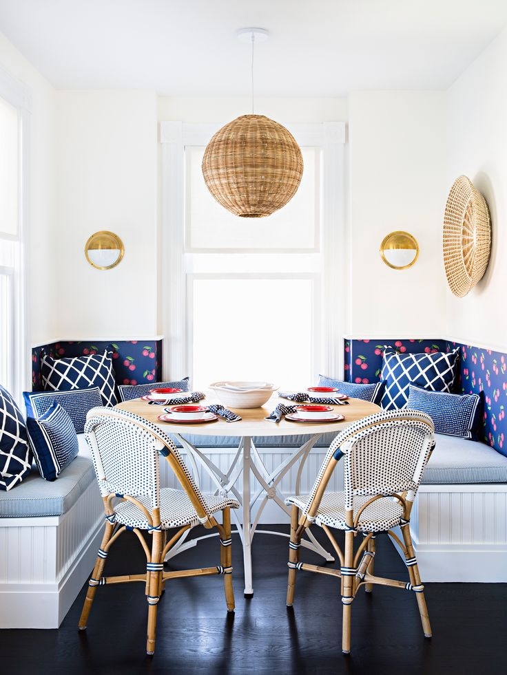 A cheery breakfast nook riviera side chairs via serena and lily